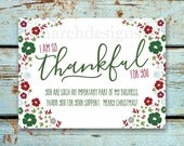 Business Christmas Thank You Card - Printable - Instant Download - Thankful - Holiday - Floral - Handwritten - Rodan and Fields Christmas
