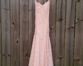S Small M Medium Vintage 80s 90s Scott McClintock Pastel Pink Sweetheart Lace Soft Grunge Indie Party Prom Dress