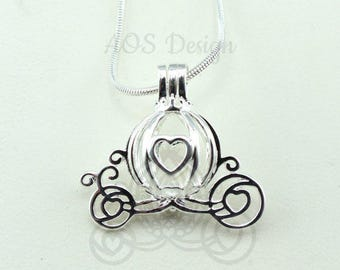 Cinderella Carriage Pearl Cage Heart Silver Plated Charm Necklace  Pick A Pearl or Wish Pearl Epcot Pumpkin Locket