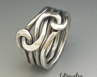 Silver Knot Ring, Love Knot Ring , Infinity Ring, Eternity Ring, Silver Ring, Unisex Ring, Sterling Silver 12 gauge wire Forged