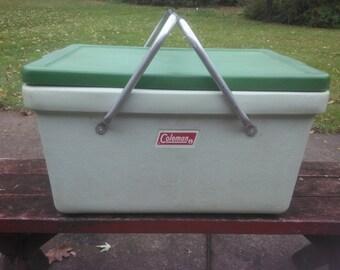 Vintage Coleman Cooler - Coleman Cooler - Vintage Camping - Cooler - Green Cooler - Camping Gear