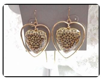 Sweet Heart Golden Cookie Lee Earrings - Large Dangling Pierced Earrings   -   E6014a-020517002