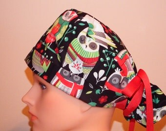 Black Owl Christmas Print Pony Tail Style Surgical Hat