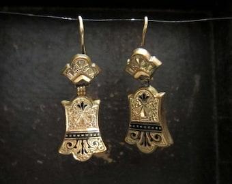 Antique Earrings, Victorian Tracery Enamel Earrings In Gold-fill c. 1880, Victorian Earrings, Vintage Earrings