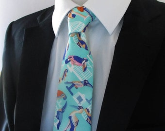 Men's Necktie - Tie - made in exotic bird design ~handmade in the traditional method ~ made in quality cotton
