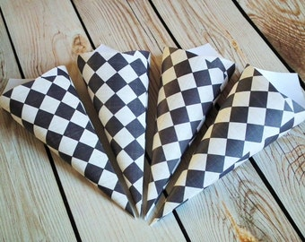 Black and cream checker paper petal cone, rose petal toss, vintage style black & white wedding favor, geometric confetti cone, made to order