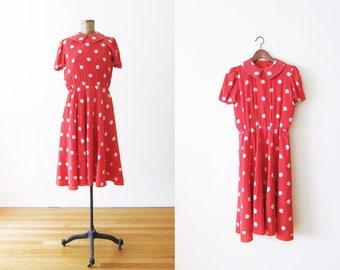 Red Polka Dot Dress / Silk Dress / Vintage Sundress / Minnie Mouse / Kawaii / Small