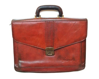 Vintage leather laptop bag Messenger briefcase JOOP Brandy color Thick leather