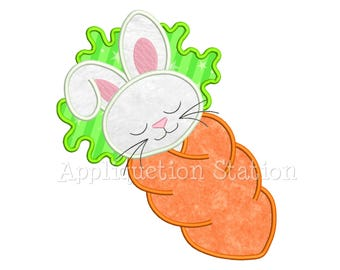 Baby Carrot Bunny Applique Machine Embroidery Design baby spring rabbit first INSTANT DOWNLOAD