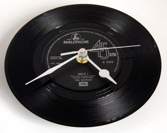 "The BEATLES Vinyl Record CLOCK from original recycled 7"" single. ""HELP"" Others available on request...."