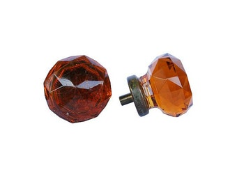 Amber Faceted Glass Knobs
