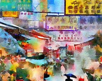 Watercolor Print - Rain in the Market