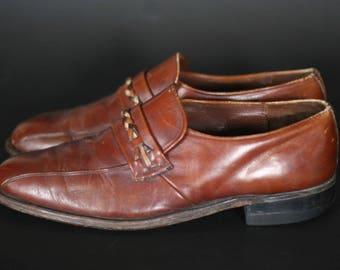 vintage nunn bush brown leather men's shoes size 9.5D