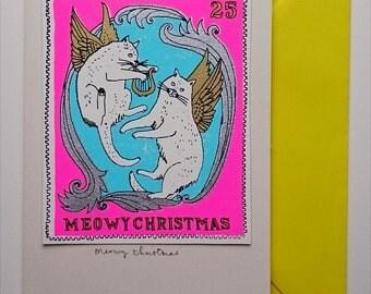 Meowy Christmas - cherub cat stamp card