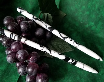 Cowhide themed acrylic hair sticks available in 5 thru 7 inches (choose one or more)