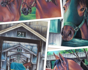 Triple Crown Legends of racing, Series of Four; Kentucky derby, wall decor art print, equestrian thoroughbred, hostess wedding gift
