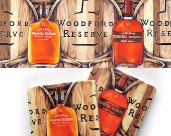 Ultimate Bourbon Gift Set, Woodford Reserve: barware, wall decor, art print, man cave, wedding gift, hostess, marble coaster, whiskey, drink