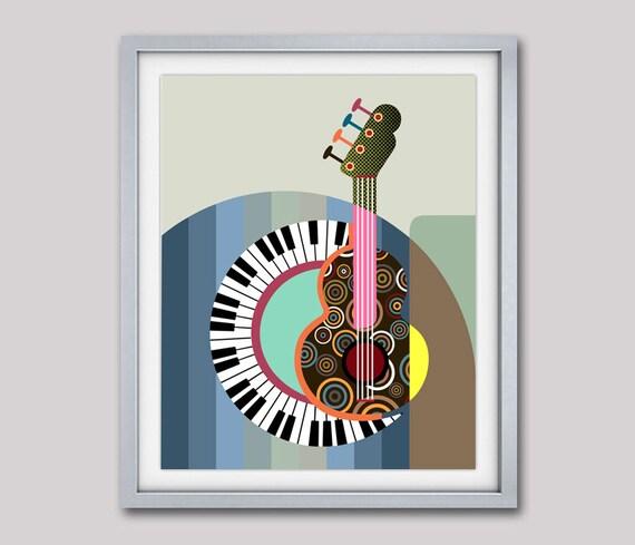 Piano Art Print, Piano Teacher Gift, Guitar Pop Art Painting, Music Decor, Music Gift, Music Poster, Music Teacher Gift