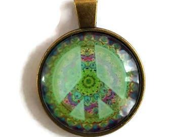 Peace Sign - Glass Cabochon Pendant - Bronze Alloy (011)