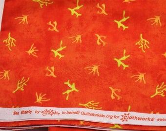 """Sea Shanty, Orange Quilting Fabric, Ocean Coral Print Cotton, 100% Cotton, 44"""" Wide, by the half yard"""