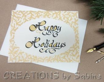 Happy Holidays Christmas Card Greeting Handwritten Calligraphy Black Gold Cream Off White Original Art Pine Branches READY TO SHIP (48)