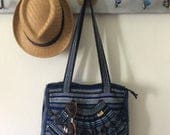 Vintage Authentic Pinzon Textile Purse in Azul-Made in Mexico-Travel Bag