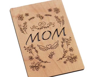 Mom with Flowers and Wings Mothers Day Laser-Cut and Etched on Wood Card