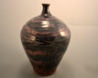 Dreamcatcher  - deep green and brick red  stoneware vase  - flower vase - handmade vase - bottle vase