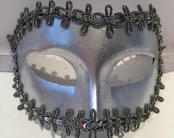 Mens Mask- Silver Mens Mask- Masquerade Mask-Vegan mask- Costume party mask- Silver Mask- Masquerade Ball- Mens Mardi Gras Mask-Cosplay