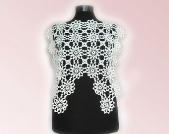 Bridal Lace Top, Wedding Top, Handmade lace top,Lace Cover Up, Lace Bridal Separate,WeddingTopper,Chantilly Lace Bridal Separate