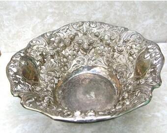 Large Silver Plated Fruit Bowl - Metal Bowl