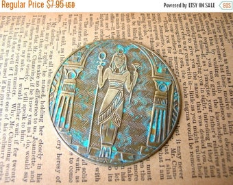 Egyptian Revival Medallion - Pharaoh Stamping - Large Brass Stamping - Patina Brass