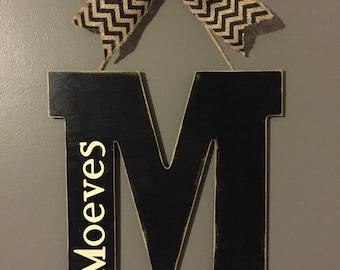 ON SALE!!!!  Initial door hanger, monogram Door Hanger, wall decor, bridal shower gift, wedding gift, Mother's Day gift, Front door hanger