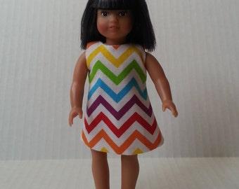 American Girl Mini Doll 6 1/2 Inch Doll Rainbow Chevron Dress 16 cm dolls