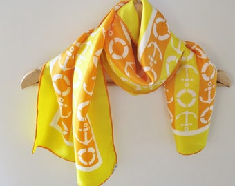 Nautical silk scarf, long silk scarf, 1970s accessory, hand rolled, yellow orange scarf. oblong scarves,  summer silk scarf, old echo scarf