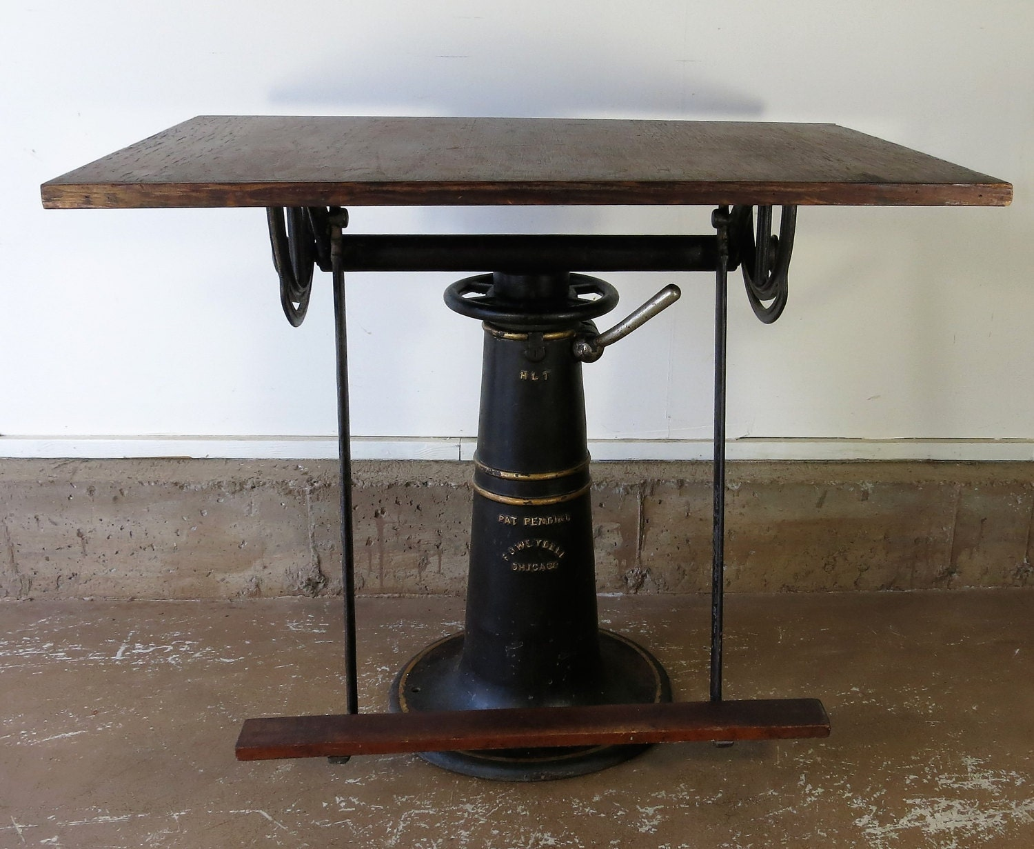 Modern drafting table - Antique Drafting Table F O Weydell 1919 1920 Cast Iron Industrial Table