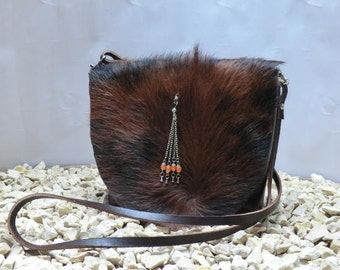 "KUHIE®, cow fur bag ""Minnie"" brown cow fur and brown leather"