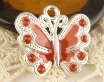 Red and Peach Enameled Sparkle Butterfly Charms, Silver tone (2)
