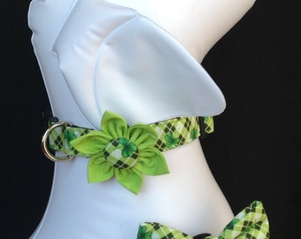 St. Patrick's Day Dog Collar Flower/Bow Tie Set - Four Leaf Clover Plaid - Size XS, S, M. L