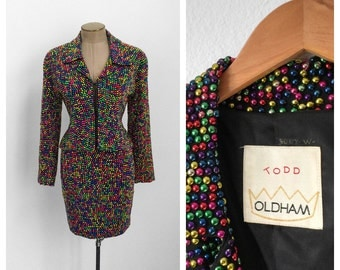 RARE Todd Oldham Lite Brite Multicolor Skirt Suit • 90s Rainbow Studded Skirt and Jacket • RISD Museum • Small