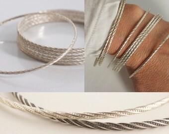 Set of 7 twisted silver bangle bracelets - twisted bangle bracelets - 925 solid sterling silver bangles - semanario - set of bangles