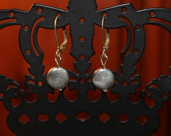 Simple Tarnished Silver Disc Leverback Earrings