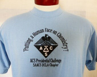 vintage 90's ACS presidential Challenge UCLA Chapter pastel sky blue graphic t-shirt embroidered logo XL