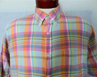 vintage 80s 90's Land's End bright pastel rainbow plaid multicolor orange peach pink turquoise yellow purple short sleeve collar shirt Large