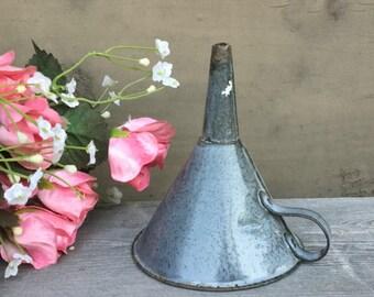 Granite Ware Funnel - Vintage Enamelware - Gray Agate Sponge Ware