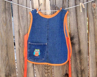 Child Cobbler - Jean Girl Cobbler Apron with Owl and Orange Trim - Size Small