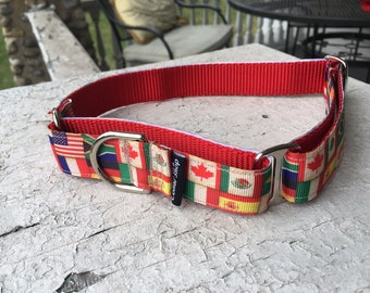 "Scarlett's Flags 1"" Martingale Collar"