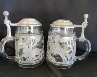Vintage German beer steins with pewter hunting scene, hunting horseman stag forest, 92% Zinn