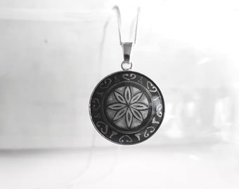 Unique Short Necklace, Black & White Charm Necklace, 925 Sterling Silver Chain Necklace, Hand Painted Pendant, Geometric Flower Art Jewelry