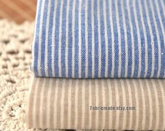 Pinstripe Fabric/ Linen Blend Fabric/ Denim Blue Khaki Stripes Yarn Dye Linen - A half yard